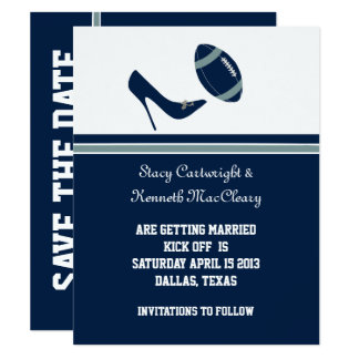 Blue Football Wedding Save The Date Announcement