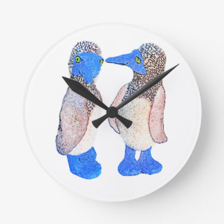 Blue Footed Birds Gifts and Apparel Round Wall Clocks