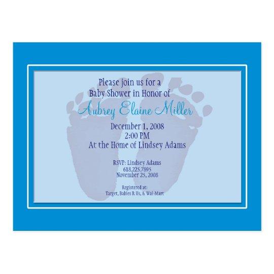 Blue Footprint Baby Shower Invitation Postcard