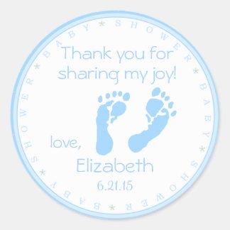 Blue Footprints Boy Baby Shower Classic Round Sticker