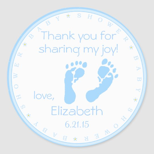 Blue Footprints Boy Baby Shower Thank You Classic Round