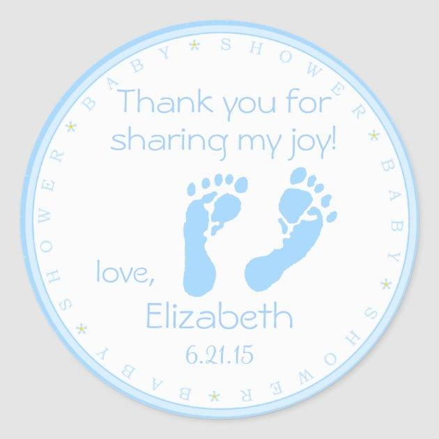 Blue Footprints Boy Baby Shower Thank You Classic Round Sticker