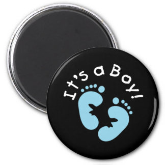 Blue Footprints It's a Boy 2 Inch Round Magnet
