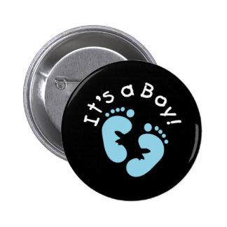 Blue Footprints It's a Boy Button