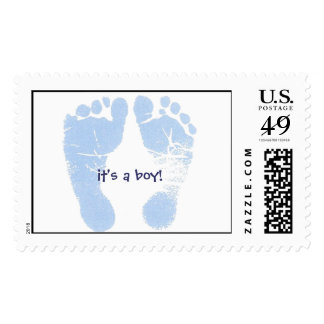 blue footprints, it's a boy! postage
