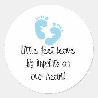 Blue Footprints Little Feet Big Imprints Classic Round Sticker