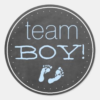 Blue Footprints Team Boy Chalkboard Classic Round Sticker