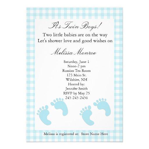 Blue Footprints Twins Shower Invitation