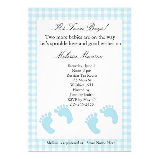 Blue Footprints Twins Sprinkle Shower Invitation
