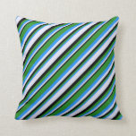 [ Thumbnail: Blue, Forest Green, Black, and Lavender Colored Throw Pillow ]