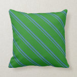 [ Thumbnail: Blue & Forest Green Colored Lines/Stripes Pattern Throw Pillow ]