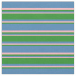 [ Thumbnail: Blue, Forest Green & Light Pink Stripes Pattern Fabric ]