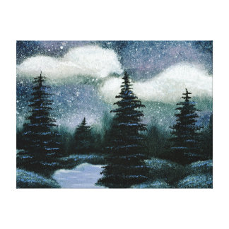 Blue Forest Oil Painting, Pretty Evening Landscape Canvas Print