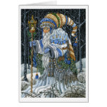 Blue Forest Santa Greeting Card