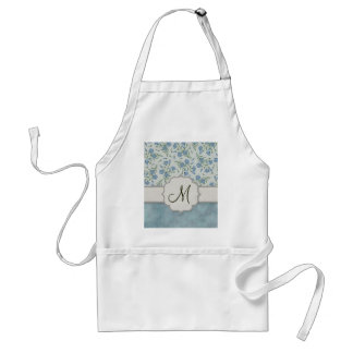 Blue Forget-Me-Not Floral and Marble with Monogram Adult Apron