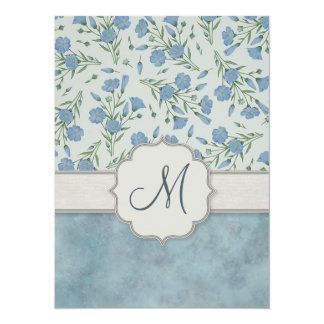 Blue Forget-Me-Not Floral and Marble with Monogram Card