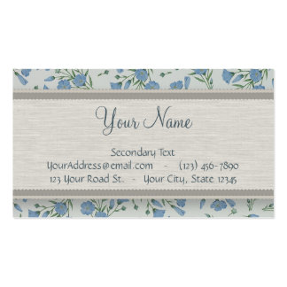 Blue Forget-Me-Not Floral and Marble with Monogram Double-Sided Standard Business Cards (Pack Of 100)