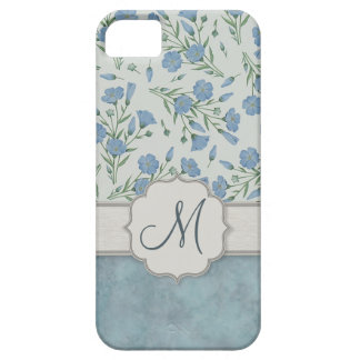 Blue Forget-Me-Not Floral and Marble with Monogram iPhone SE/5/5s Case