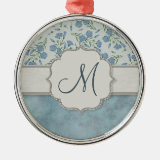 Blue Forget-Me-Not Floral and Marble with Monogram Metal Ornament