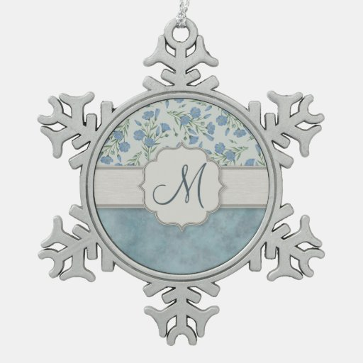 Blue Forget-Me-Not Floral and Marble with Monogram Ornaments
