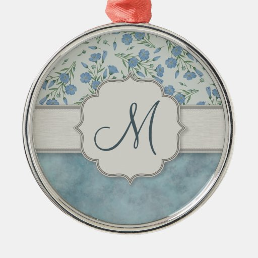 Blue Forget-Me-Not Floral and Marble with Monogram Christmas Tree Ornaments