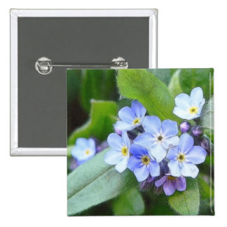 Blue Forget Me Not Flowers Button
