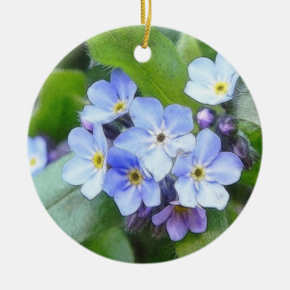 Blue Forget Me Not Flowers Christmas Tree Ornaments
