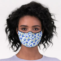 Blue Forget-me-not Flowers Premium Face Mask