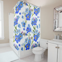 Blue Forget-me-not Flowers Shower Curtain