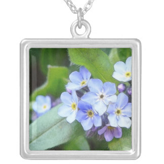 Blue Forget Me Not Flowers Silver Plated Necklace