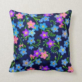 Blue Forget Me Not Garden Flowers Pillow