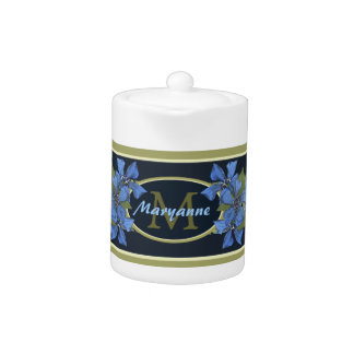 Blue Forget me not Wildflowers Monogram Teapot