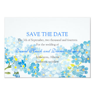 Blue Forget Me Not's Save the Date Garden Wedding 3.5x5 Paper Invitation Card