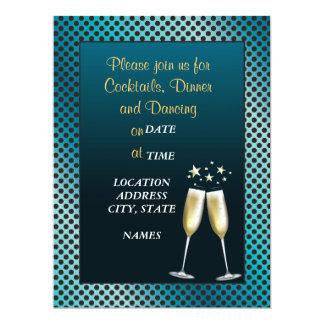Blue Formal Celebration Cocktail Party Invitation