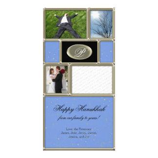 Blue Formal Hanukkah Card