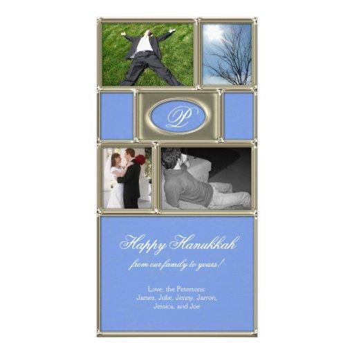 Blue Formal Hanukkah Personalized Photo Card