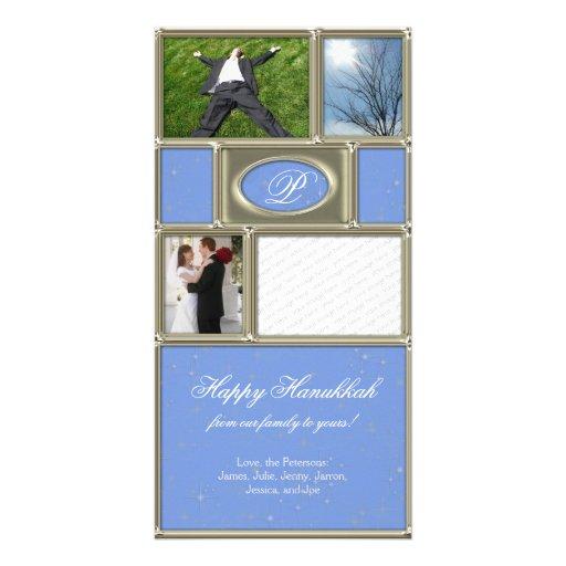 Blue Formal Hanukkah Photo Card