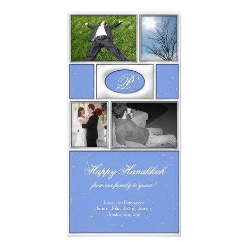Blue Formal Hanukkah Photo Card Template