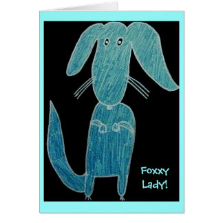 blue Foxxy Lady dog Card