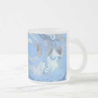 Blue Fractal Art Frosted Glass Coffee Mug