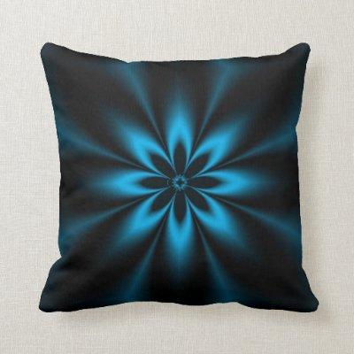 Blue Fractal Burst Pillow