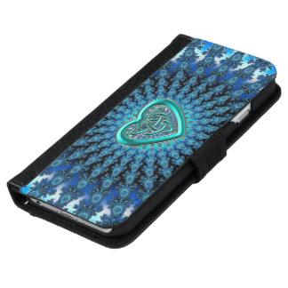 Blue Fractal Celtic Heart iPhone 6 Wallet Case
