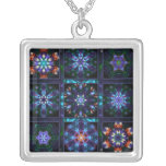 Blue Fractal Collage Personalized Necklace