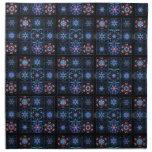 Blue Fractal Collage Printed Napkins