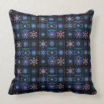 Blue Fractal Collage Throw Pillows