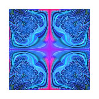 Blue Fractal Design Wrapped Canvas Canvas Print