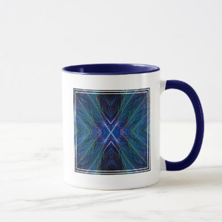 Blue Fractal Feather Design Mug