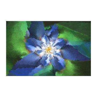 Blue Fractal Flower Canvas Print
