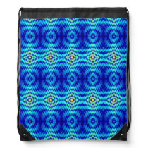 Blue fractal geometric pattern drawstring bag
