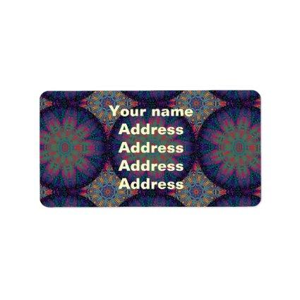 Blue Fractal Pattern Address Label